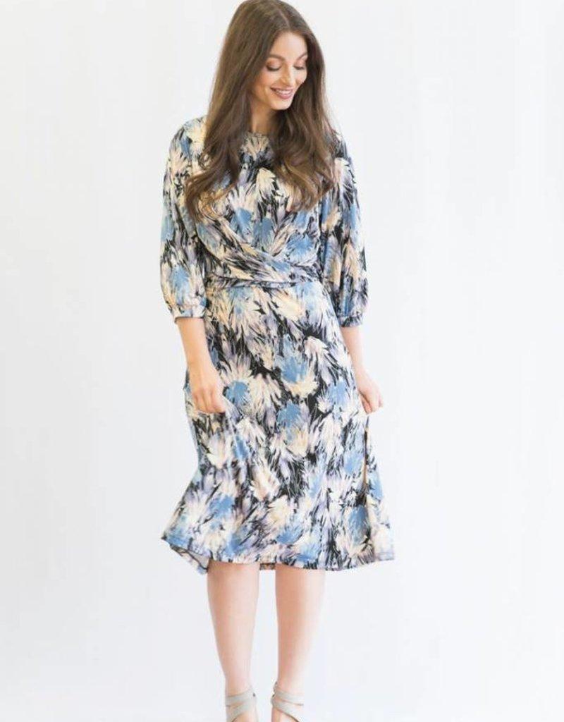 KMW Periwinkle floral wrap dress