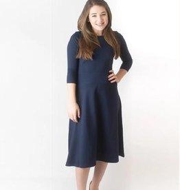 KMW Navy a-line dress with seamed waistline