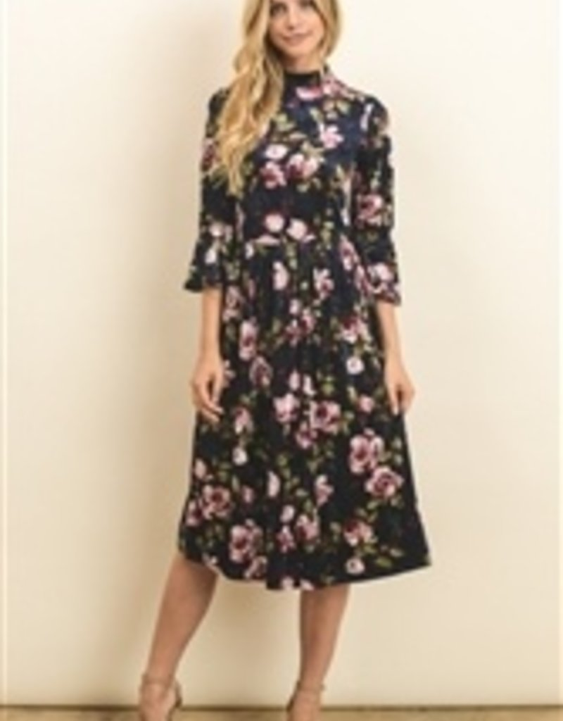 Crushed velvet floral dress w/bell sleeves