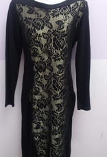 KMW Black w/gold lace insert dress
