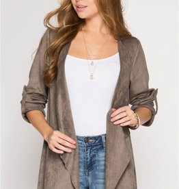 She + Sky Batwing Suede open cardigan