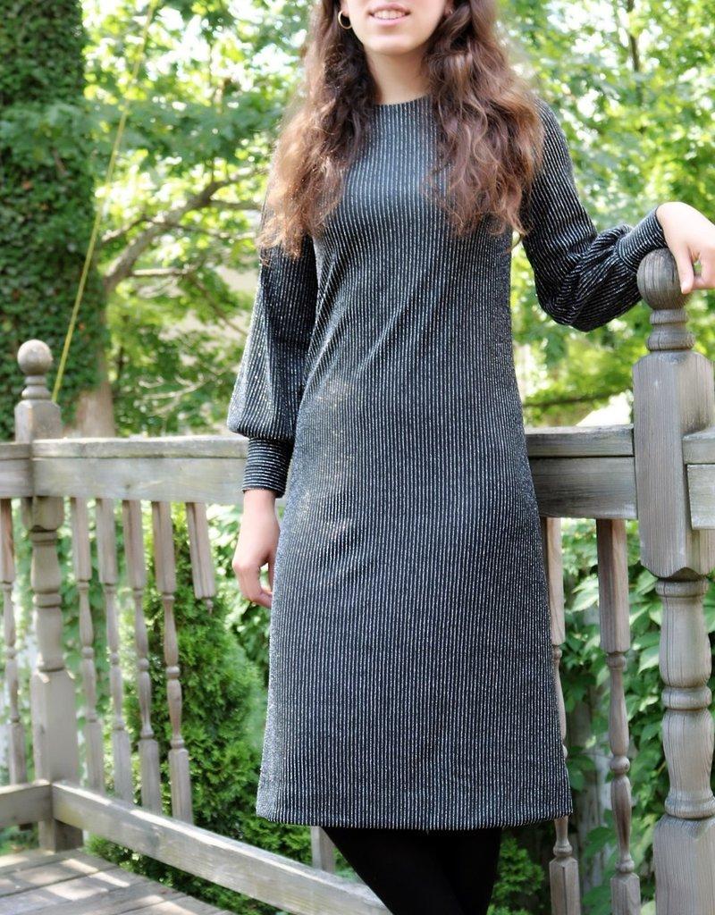 Ivee Black w/silver pinstripes loose dress