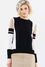 70°F/21°C Blk/white/tan color block thin knit