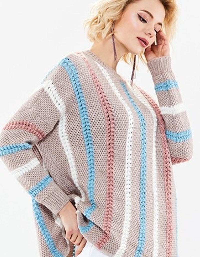 70°F/21°C Loose knit pullover stripe sweater