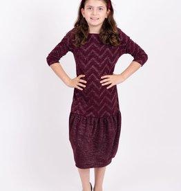KMW Chevron sparkle ruffle dress