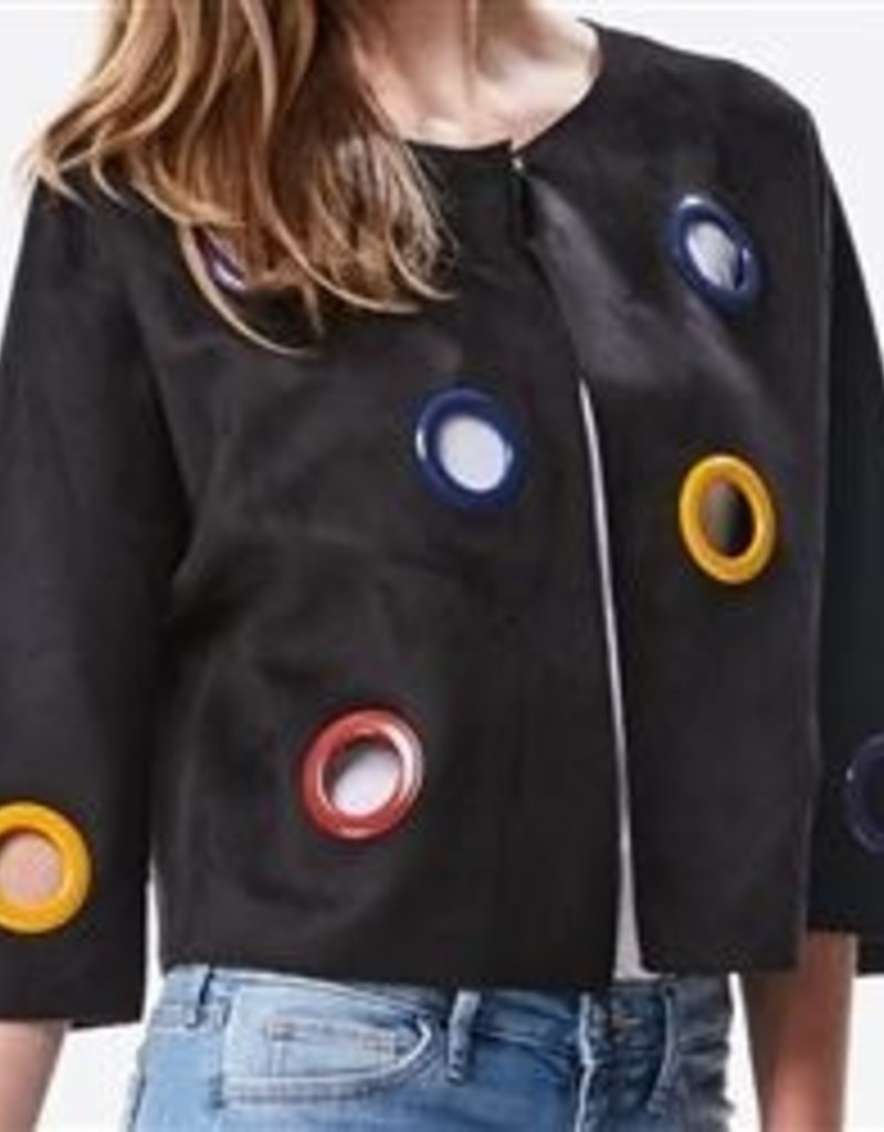 INA Black suede jacket w/colored circles