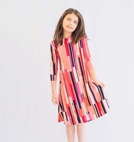 KMW Girls tunic coral stripe dress