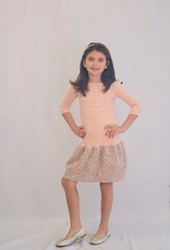 KMW Girls pink w/gray ruffle dress
