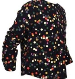 Junee Jr Heidi Navy flannel with multi polka dots