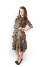 "KMW Mustard/gray ""everything"" dress"