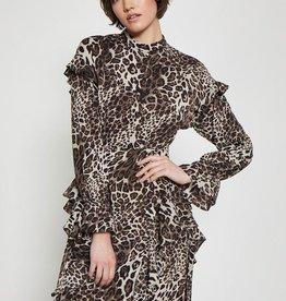 Walter Baker Leopard  chiffon ruffle dress