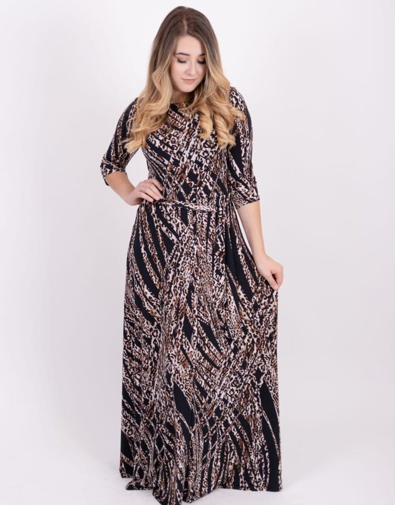 KMW Belted Maxi Brown Leopard