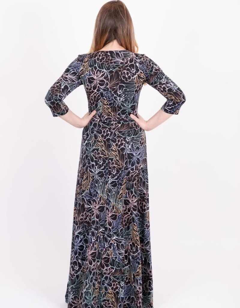 KMW Belted Maxi Rainbow Floral