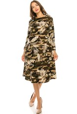 Chi-Chi Camo Leaf Swing Dress