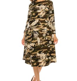 Chi-Chi Camo Leaf Swing Dress