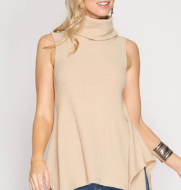 She + Sky Sleeveless ribbed cowl w/flare bottom