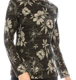 Chi Chi Black, cream, gray floral top