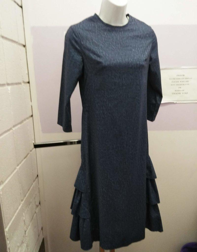 Ivee Straight denim blue dress w/tiered side skirt ruffles