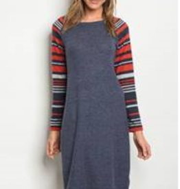 Sweet Claire Navy red striped dress