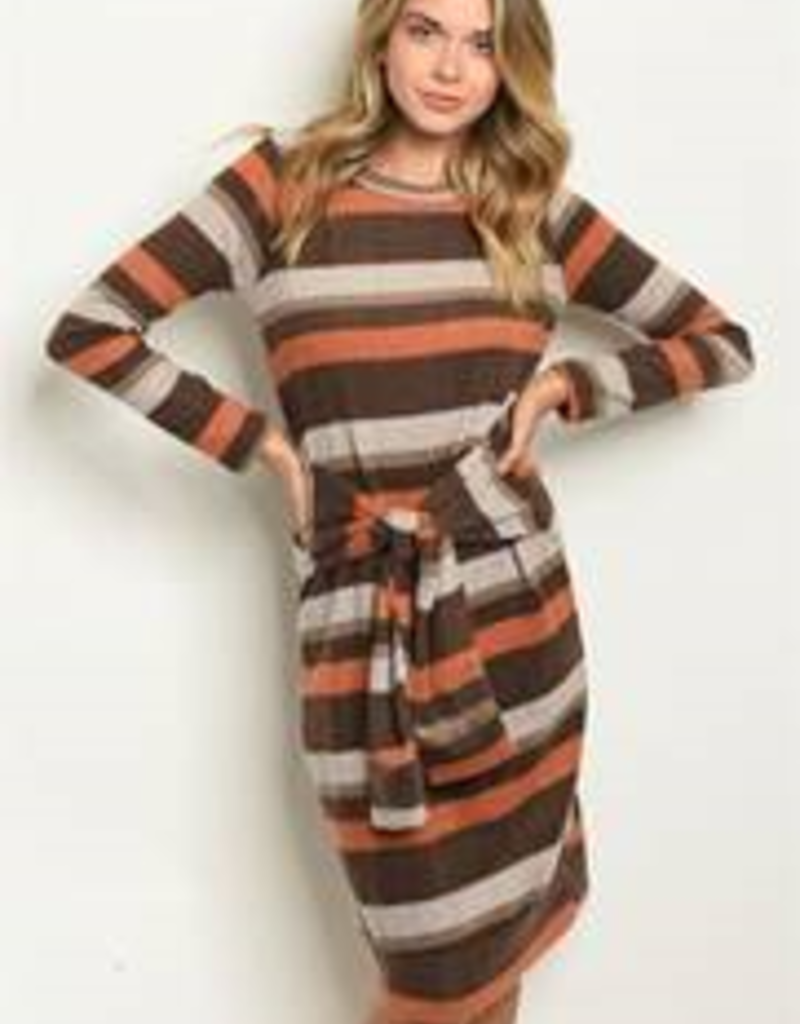 Sweet Claire Earth tones striped dress