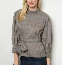Do+Be Taupe Ckrd Top