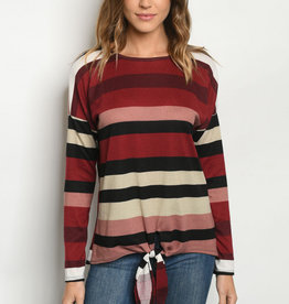 Adora Burgandy Stripes Top