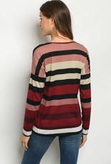 Adora Burgandy Stripes Top