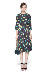Miss Finch Multi leaf fit and flare dress