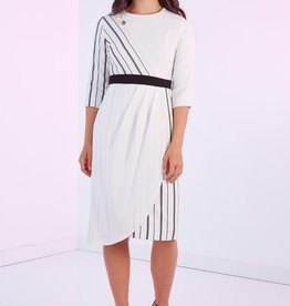 Modest Peoples White/half striped, gold button dress