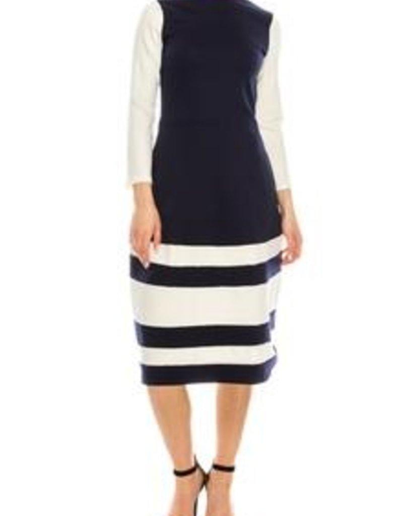 Chi Chi Banded navy/white dress w/pkts