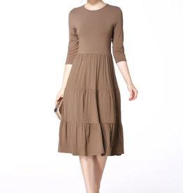 Miss Finch Miss Finch mocha tiered dress