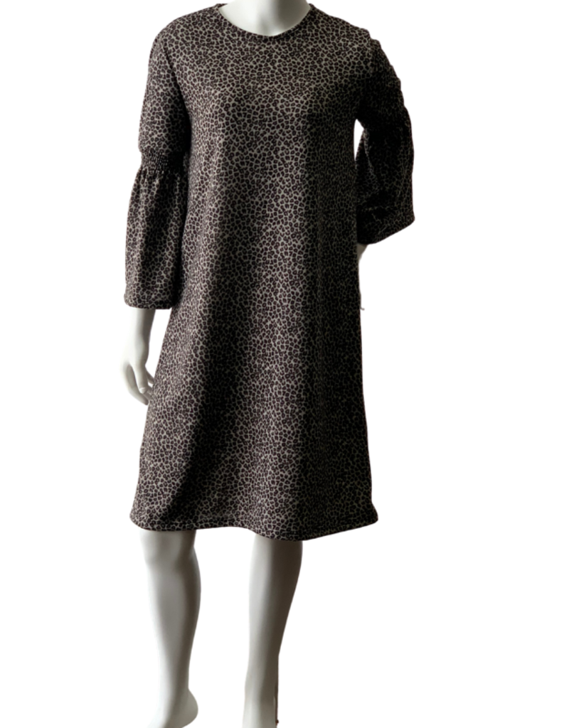 KMW Gray Leopard Smock Dress