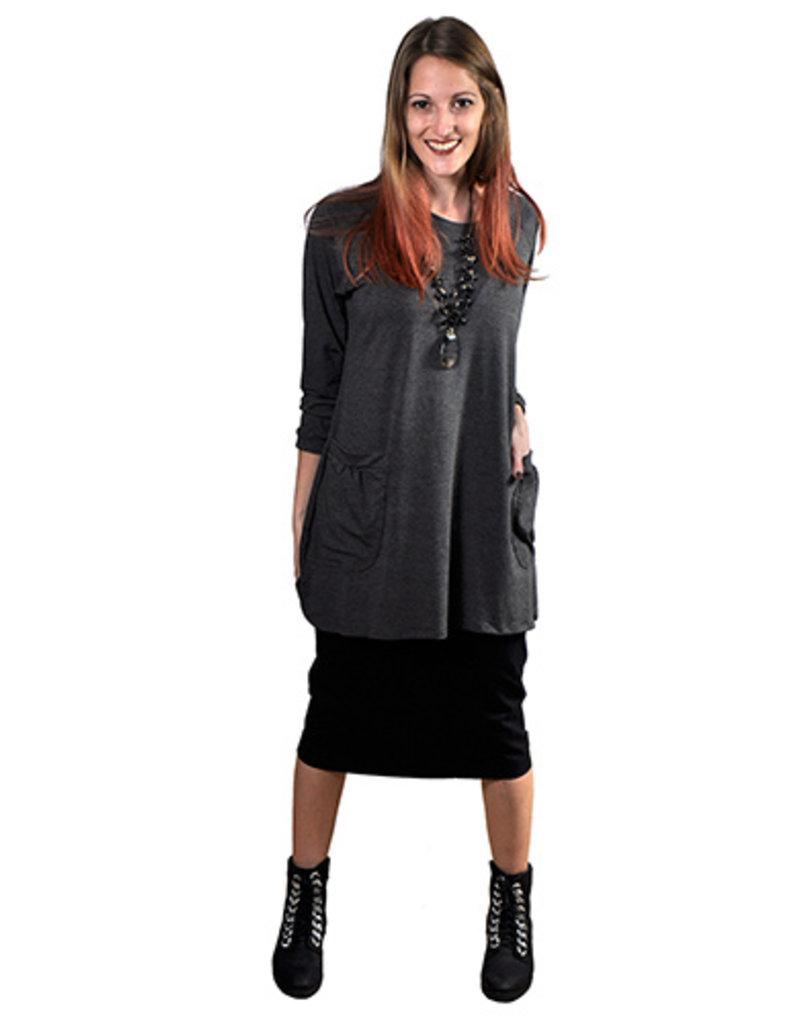 MarSea Modest Long tunic top w/pkts Gray