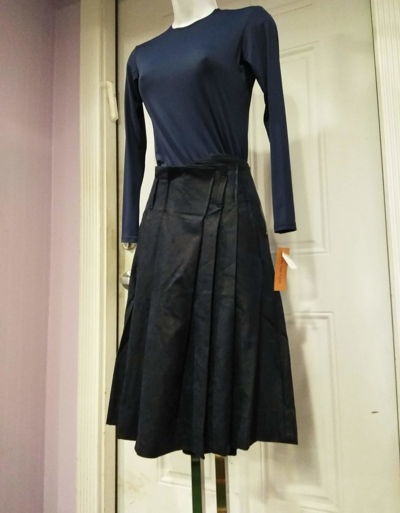 The Peoples Blue leather box pleat skirt