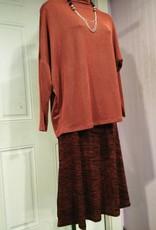 KMW Rust/black ridged knit aline skirt