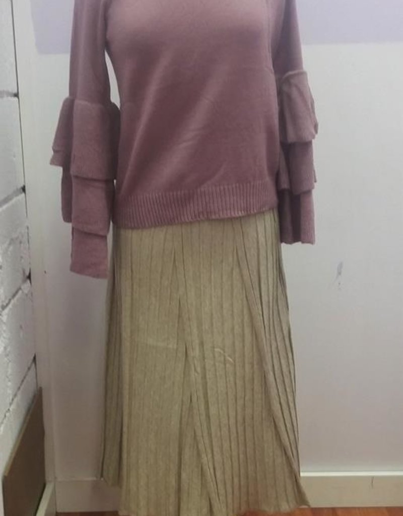 Le Lis Oatmeal ridged knit long midi skirt