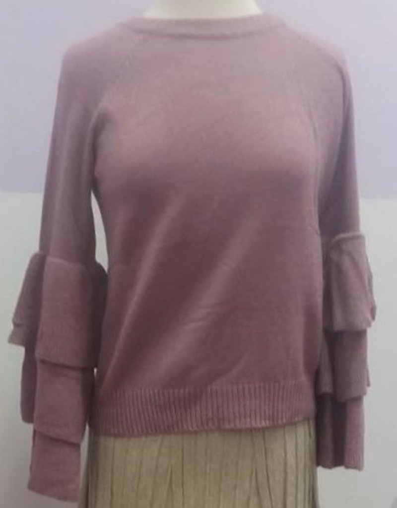 She+Sky Mauve crew neck knit with multi bell sleeve