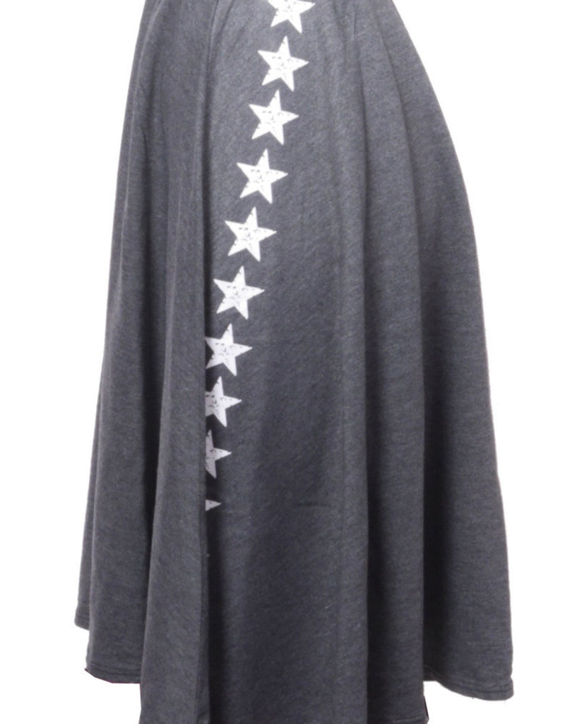 Heart & Soul Charcoal Skater skirt with silver stars