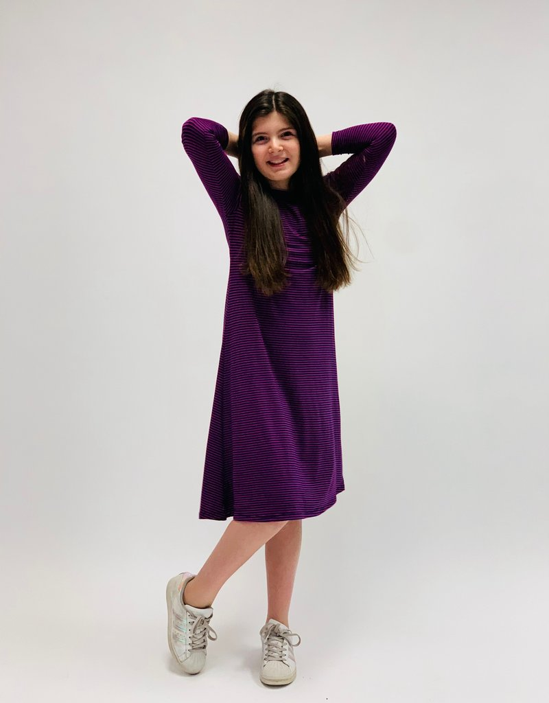 KMW Tunic Dress Navy/fuschia striped