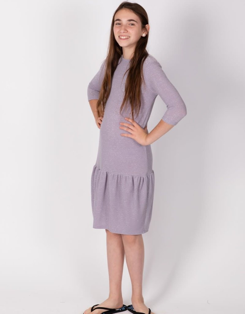 KMW Ruffle drop waist lilac lurex dress