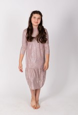 KMW Ruffle drop waist rose crinkle dress