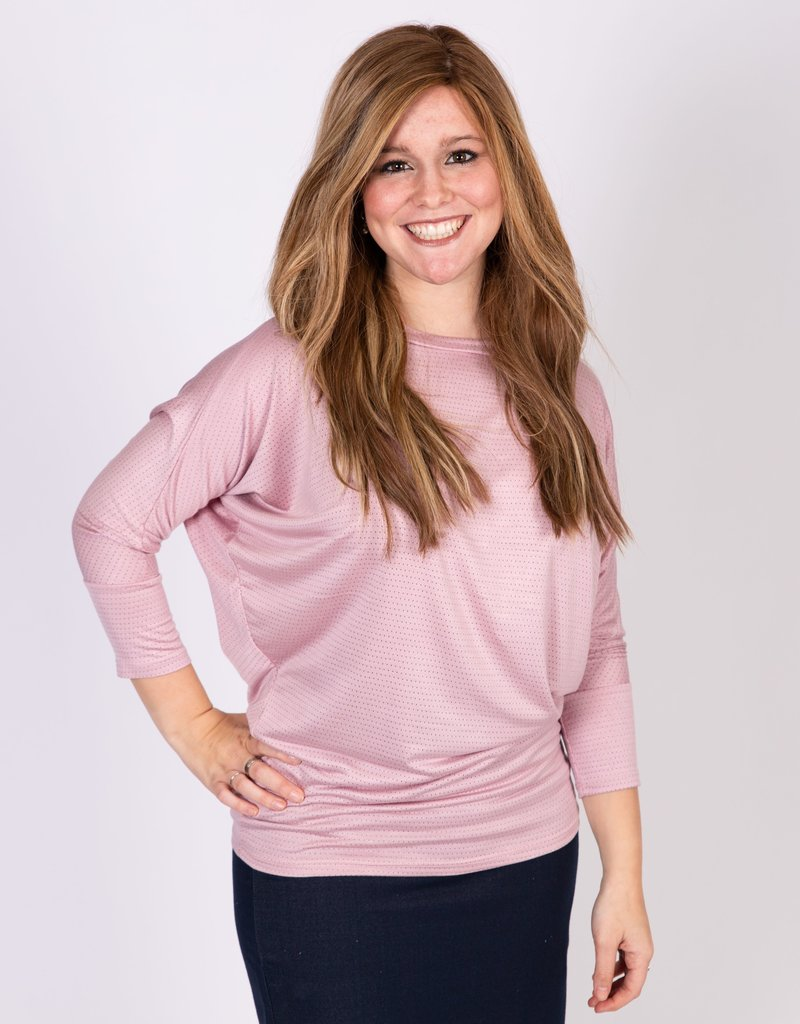 KMW Pink dot dolman top