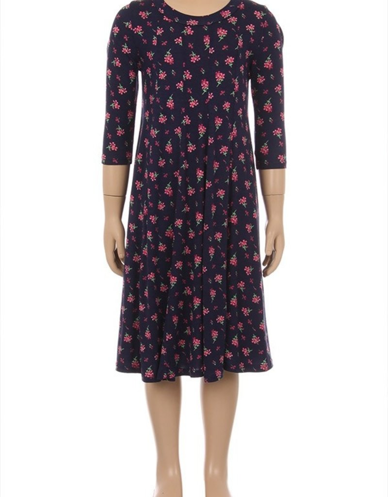 New Moa Collection Navy floral 3qtr sleeve dress with seamed detail