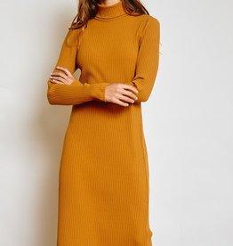 Ces Femme Knit turtleneck wide ribbed midi dress