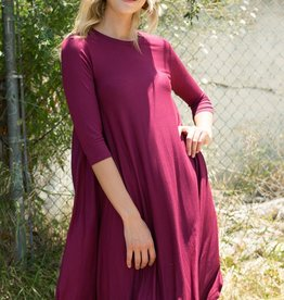 e.Luna Rounded bottom 3qtr sleeve Swing Dress