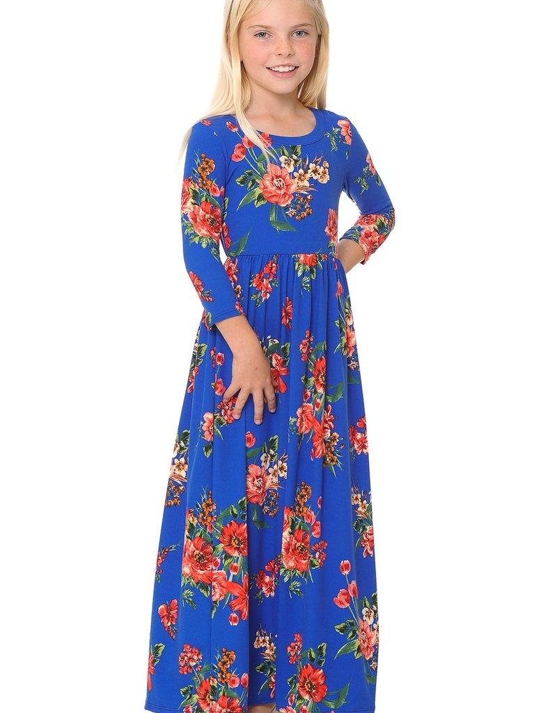 Alium Blue floral 3qtr sleeve maxi dress