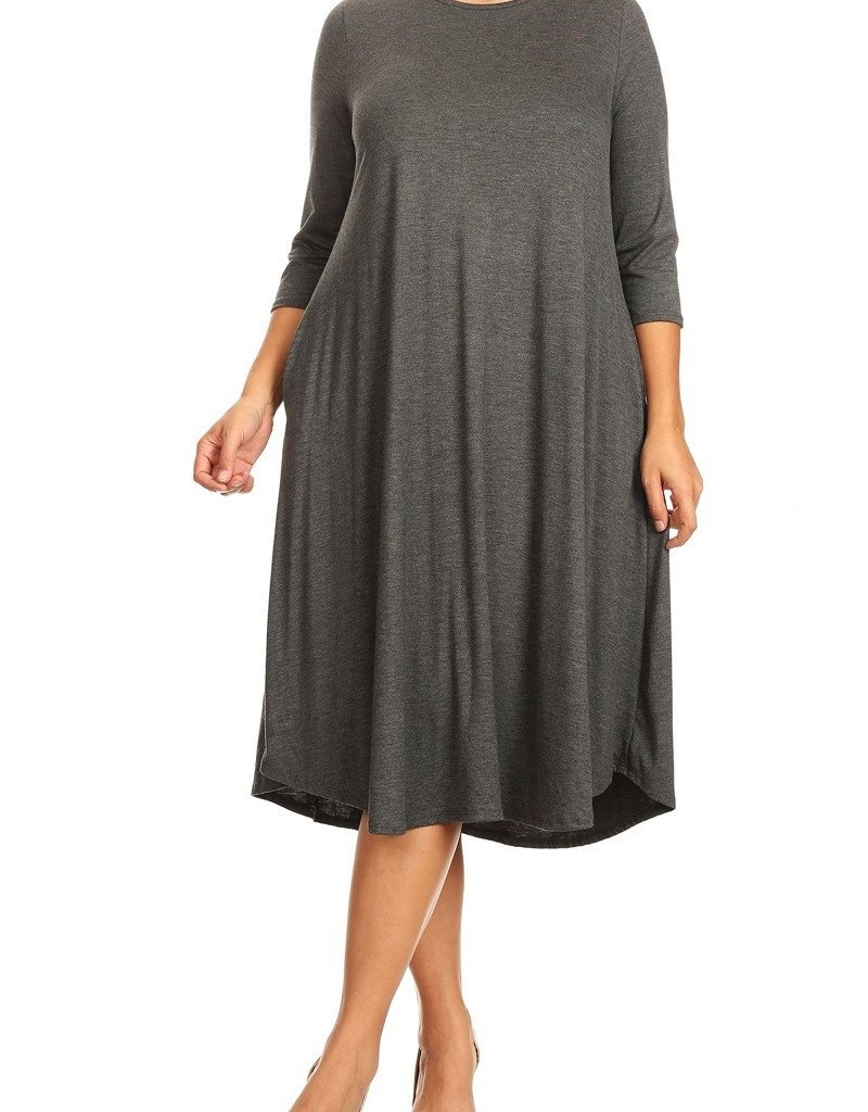 Moa Collection Plus Swing Midi dress w/pkts & 3qtr sleeves