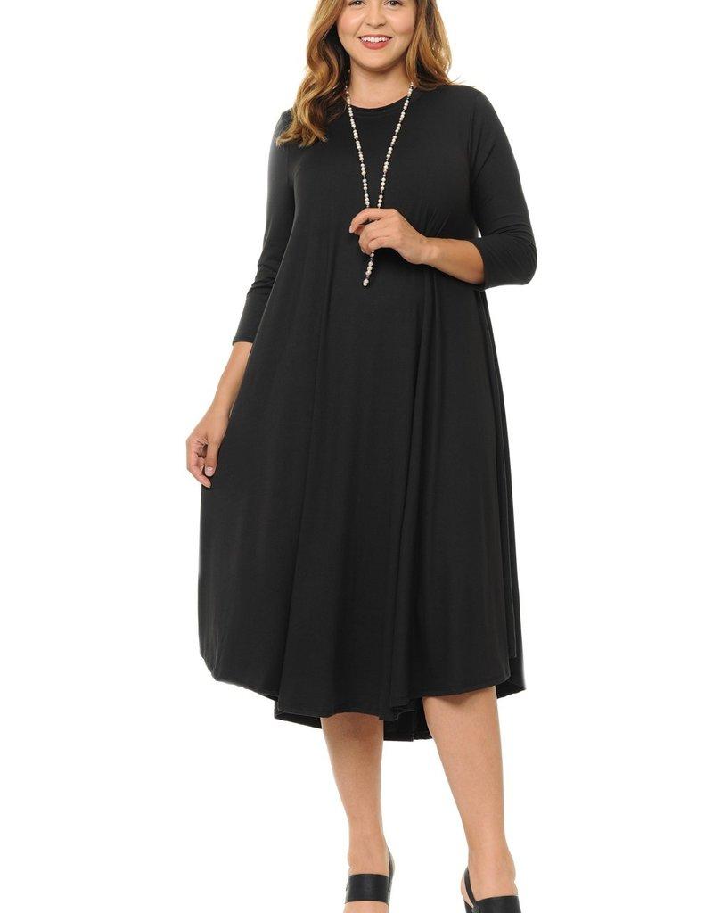 Alium Midi 3qtr sleeve Plus Swing Dress