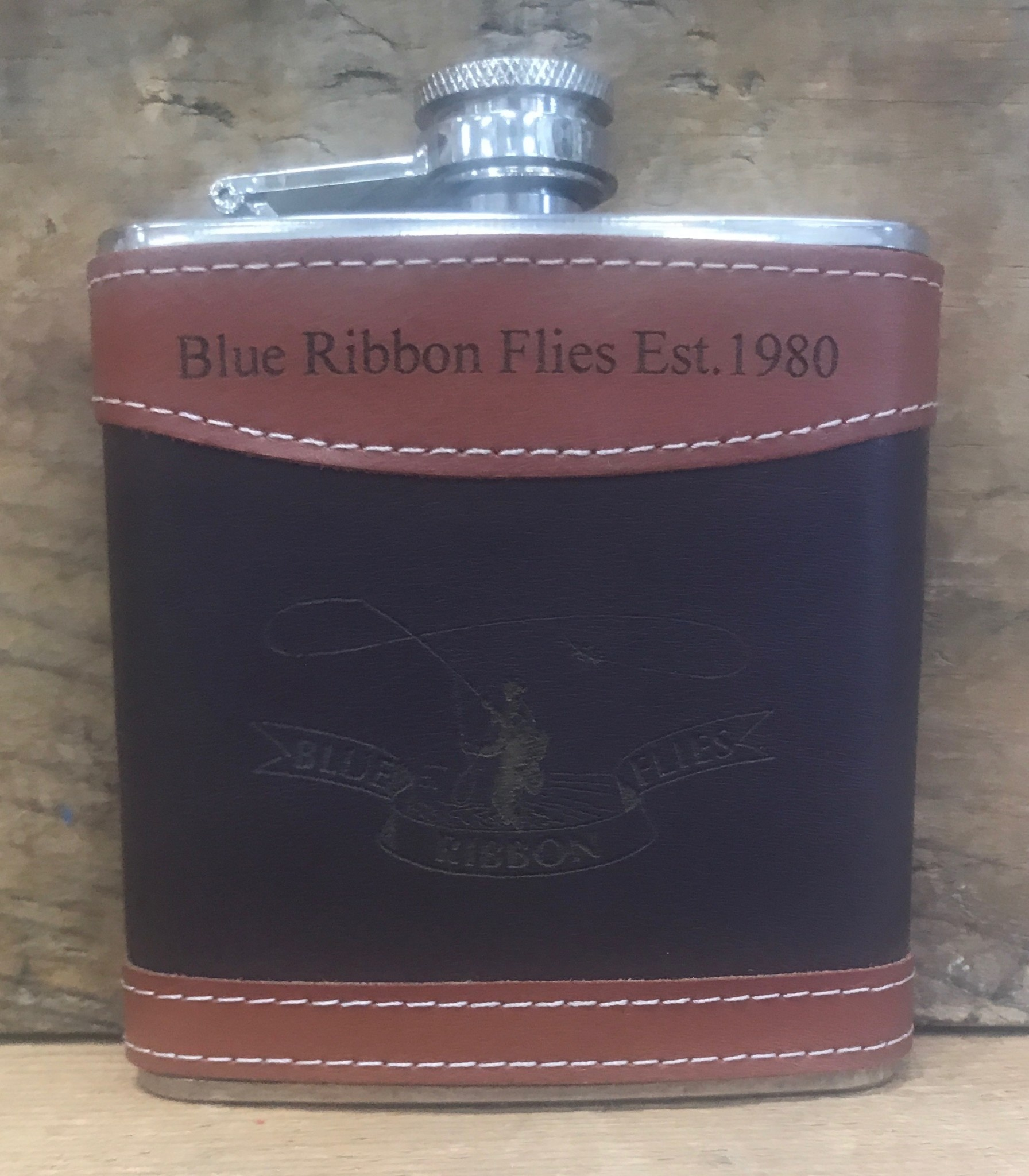Blue Ribbon Leather Flask