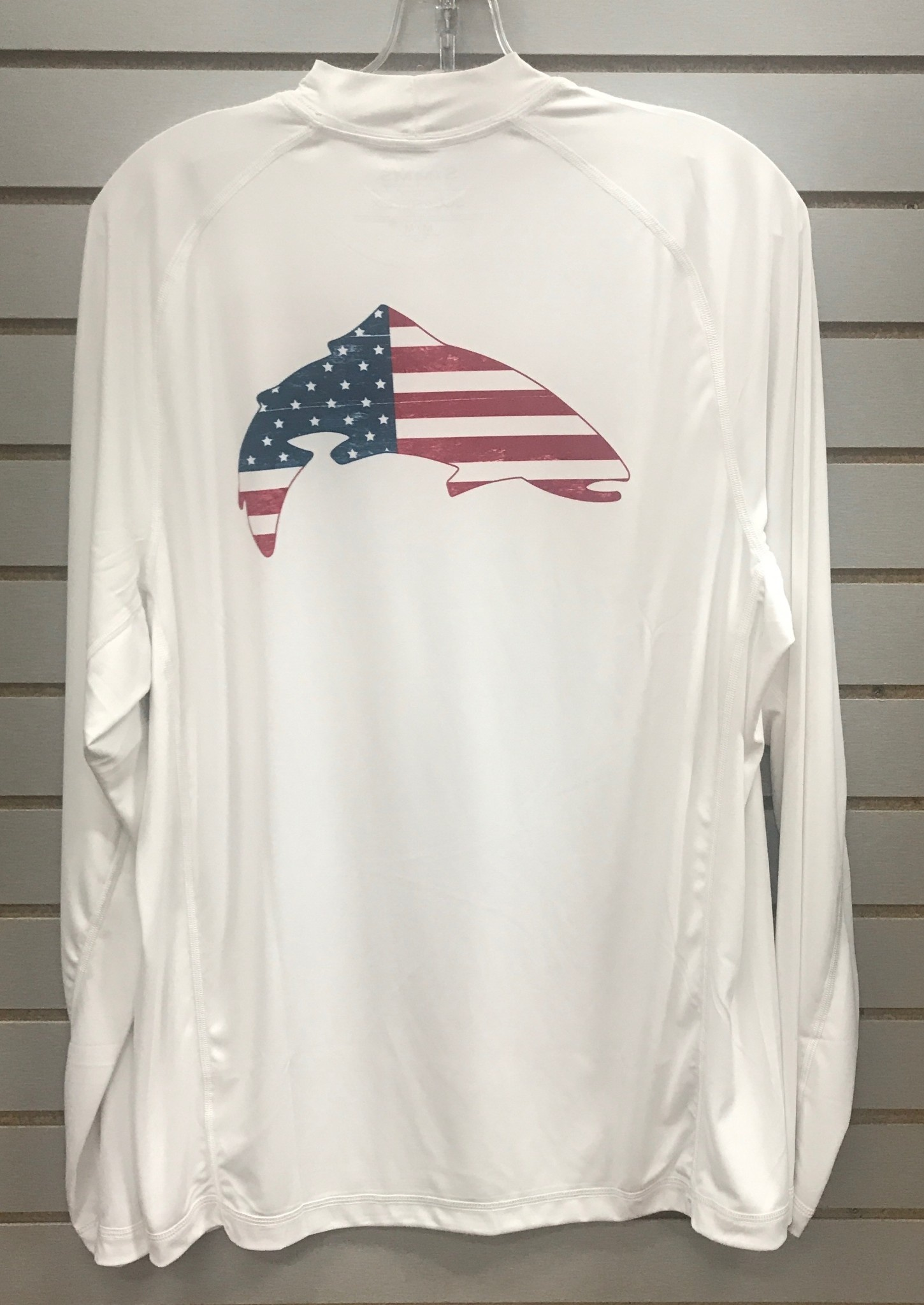Simms Solarflex LS Crew Prints USA Trout White 50% Off